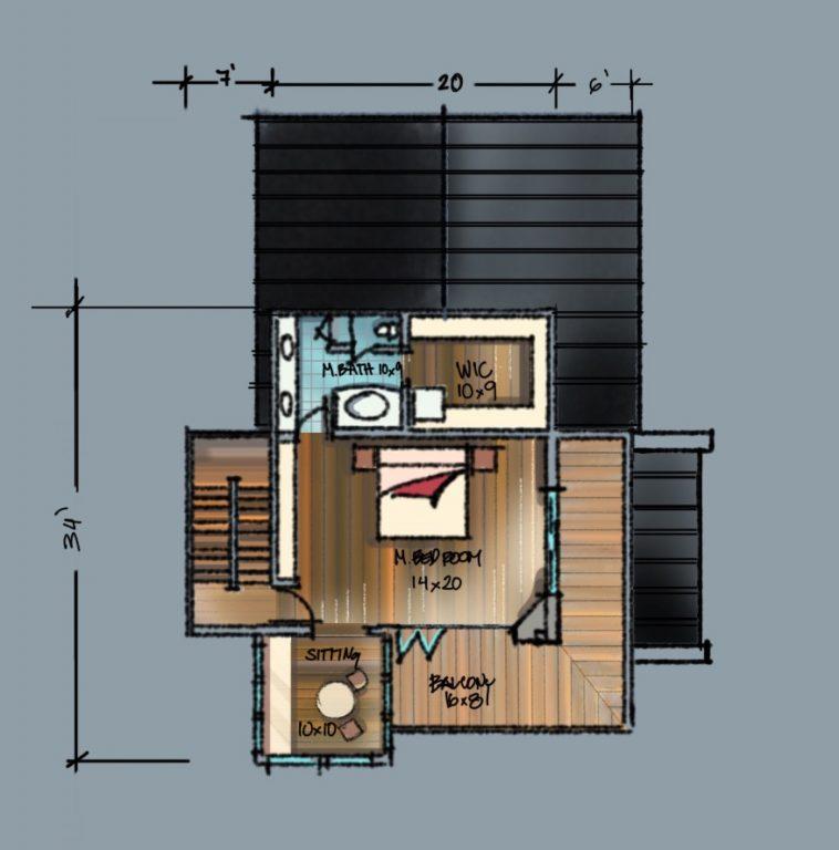 Lakehouse Upper Level Floor Plan Sketch
