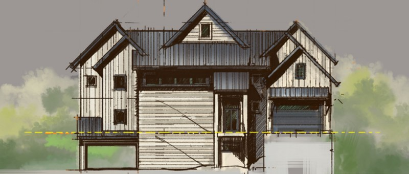 Rustic also Modern Farmhouse Sketch Front Elevation