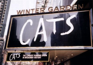 """""""Cats"""" marquee at the Winter Garden Theatre"""