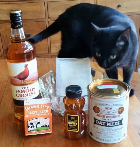 Atholl brose ingredients (minus the cat)