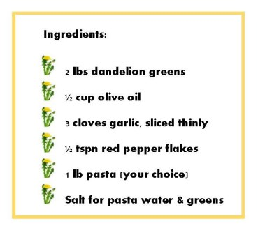 dandelion ingredients