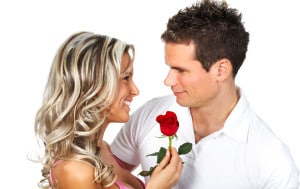 Couple  in love smiling. Over white background