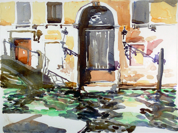 """Rio di San Vio"", by Robert Leedy, 2003, watercolor on Arches 140 lb. Hot Press paper, 17.5 x 23 in., Collection of the Artist"
