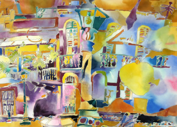 """""""Calle San Sebastián, Viejo San Juan"""", by Robert Leedy, 2001, watercolor and mixed media on paper, 20.375 x 28.375 in., Collection of theArtist"""
