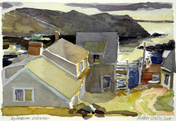 """""""Monhegan Evening"""", by Robert Leedy, 2004, watercolor on Arches 140 lb. Cold Press paper. 6.5 x 9.5 in., Collection of theArtist"""