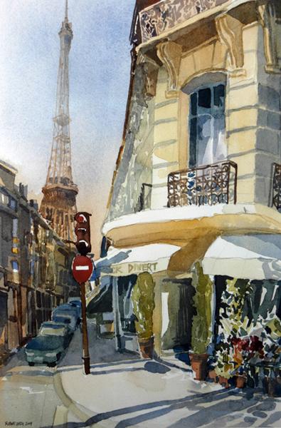 """rue de Monttessuy"", by Robert Leedy, 2004, watercolor on paper, Collection of Dr. & Mrs. José Martinez-Salas, Winter Haven, Florida"