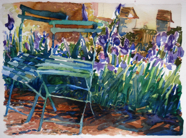 """""""Garden Chairs at Hôtel Baudy, Giverny, France"""", by Robert Leedy, 2003, watecolor on paper, Collection of Amy Carol Roberts, Neptune Beach,Florida"""