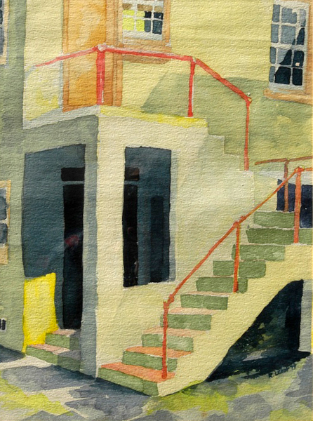 """""""Hoagies' Alley"""", by Robert Leedy, 1977, watercolor on paper, 13.75 x 18.5 in., Collection of theArtist"""