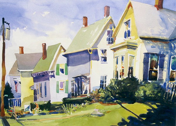 """Rockland Neighbors"", by Robert Leedy, 2005, watercolor on Arches 140 lb. Hot Press paper, 19 x 26.5 in., Collection of the Artist"