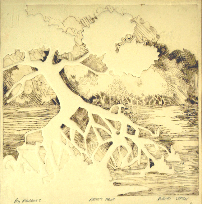 """""""Key Mangroves"""", by Robert Leedy, 1977, etching, Artist's Proof, Collection of theArtist"""