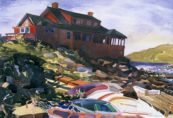 """""""Red House - Monhegan Island, Maine"""", by Robert Leedy, 2005, watercolor on paper, Collection of theArtist"""