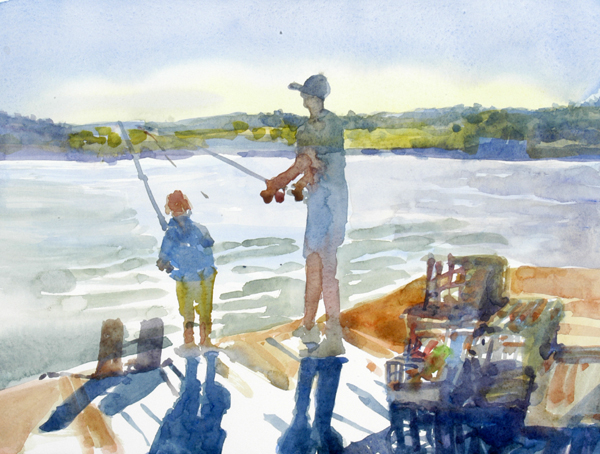 """""""Fishing Lesson"""", by Robert Leedy, 2008, watercolor on Arches Hot Press paper"""
