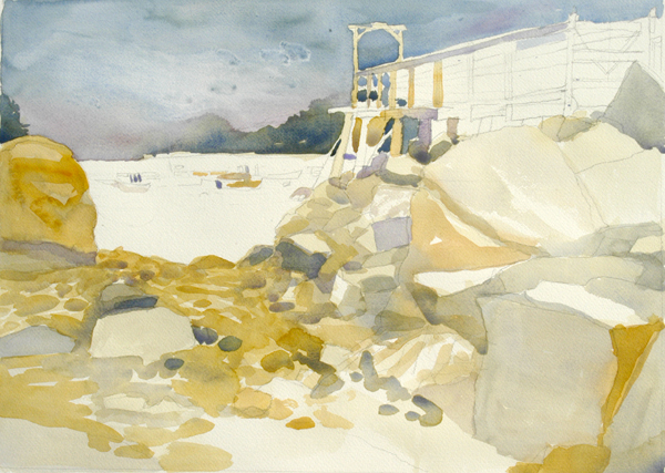 """""""Low Tide, Owls Head Harbor"""", by Robert Leedy, 2008, watercolor on Arches 140 lb. Cold Press paper, 16"""" x 22"""""""