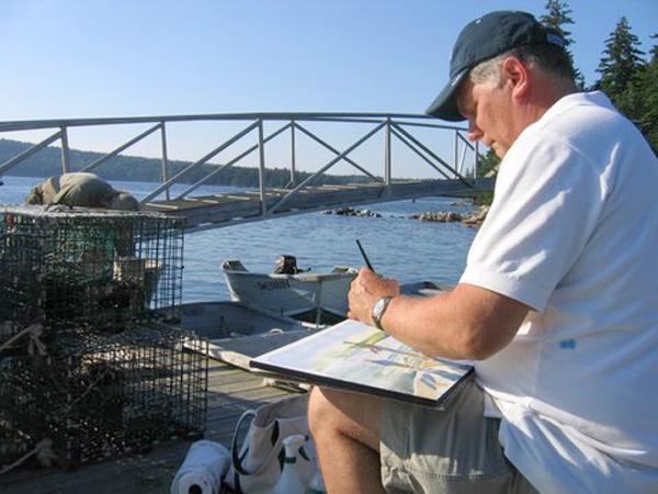 "Robert painting ""Fishing Lesson"" at Bartlett's Landing, Maine, August 2008, photo by Barbara Sroka."