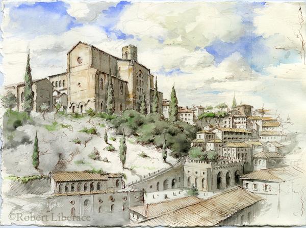 Robert Liberace ink-and-watercolor