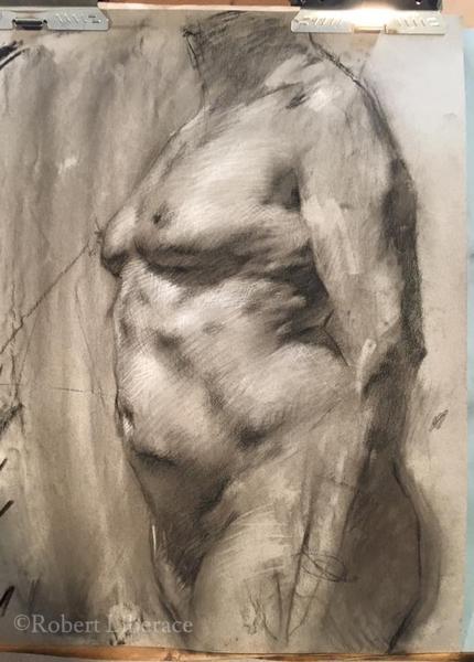 Robert Liberace, demo of nude, chalk