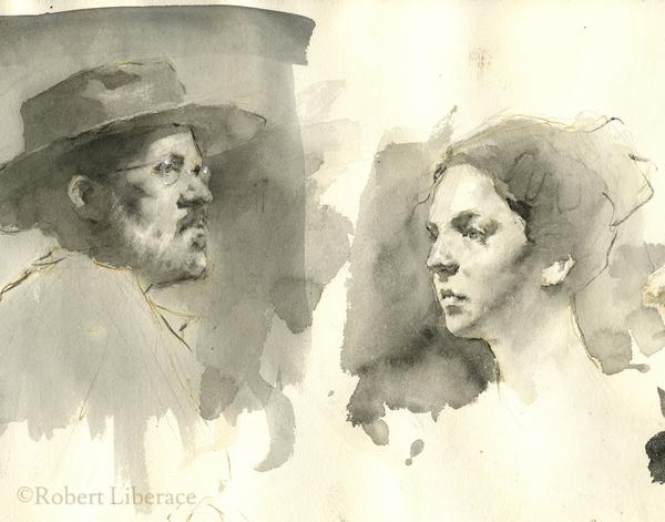 Robert Liberace, pen and ink-portraits-demo
