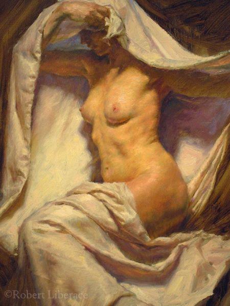 Robert Liberace draped female oil painting