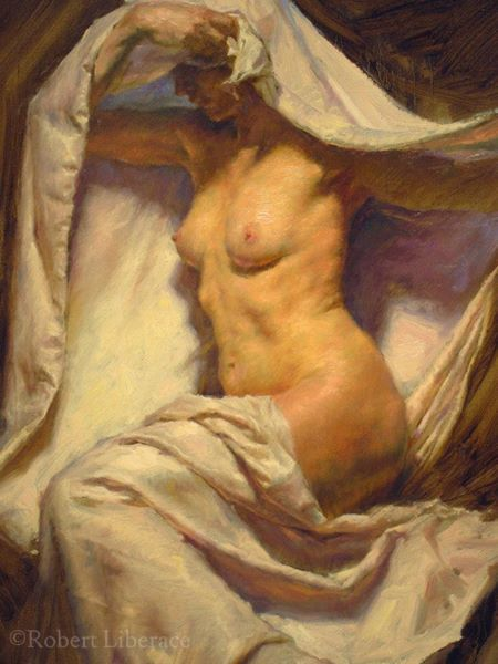Robert Liberace draped female oil painting