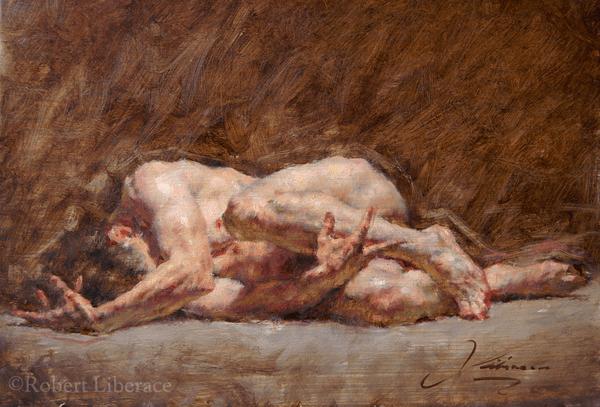 Robert Liberace figure in oil, Anguish