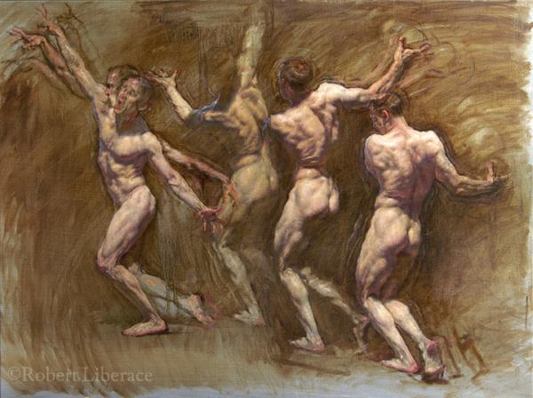 Robert Liberace figure throwing oil painting
