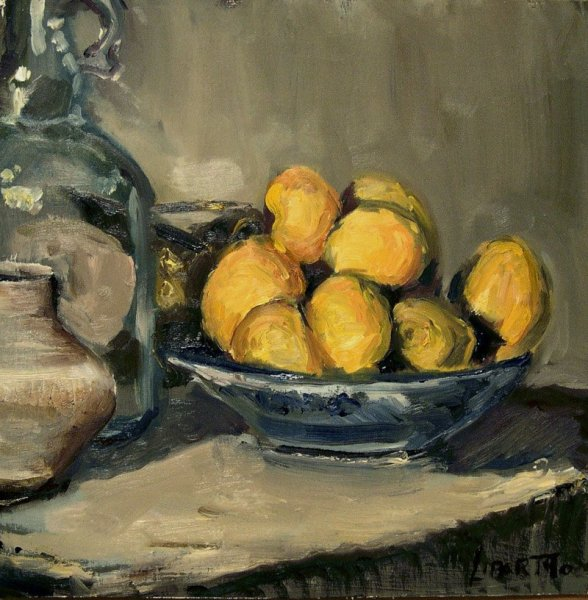 Bowl of Lemons, oil on board, 12x12
