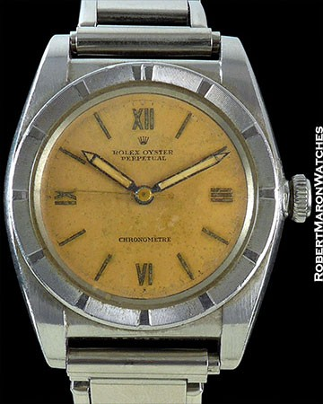 ROLEX BUBBLE BACK 3372 STEEL SALMON DIAL  All Watches