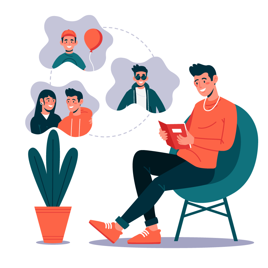 Colorful illustration with personal memories