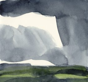'Rain III' watercolour, 17.5 x 19 cm