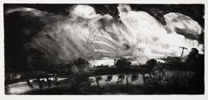 'Passing By' monotype, 18 x 39.5 cm