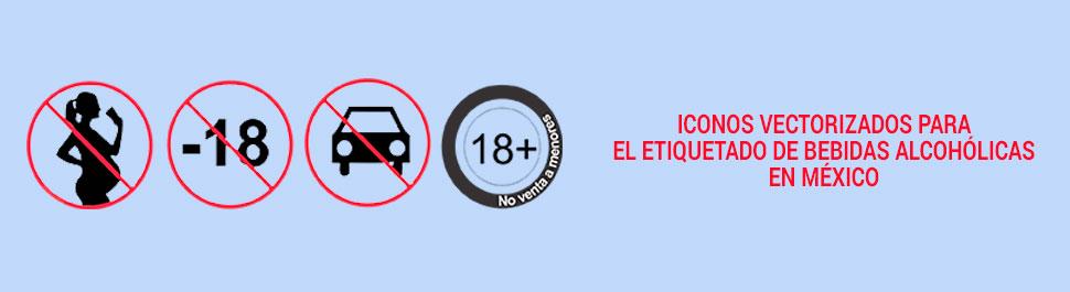 Iconos vectorizados para el etiquetado de bebidas alcohólicas en México