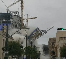 (Video): El impactante momento en que un hotel en construcción colapsa en Nueva Orleans, EEUU