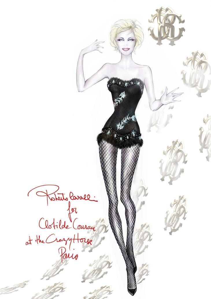 Roberto Cavalli for Clotilde Courau at the Crazy Horse in Paris