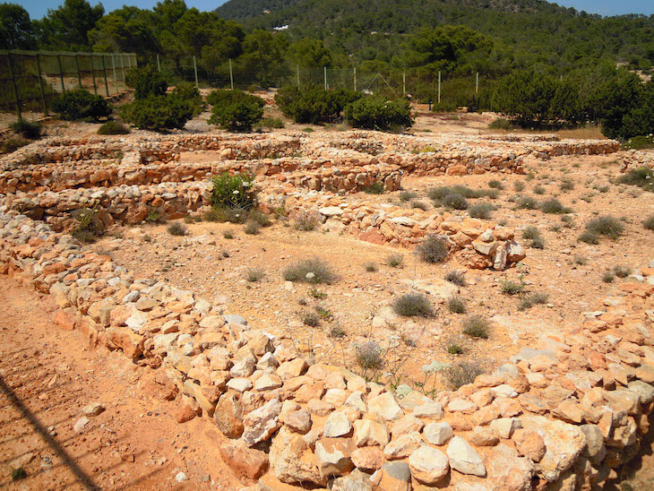The Remains of the Phoenician Settlement on the rocky headland of Sa Caleta dating from 654 BC