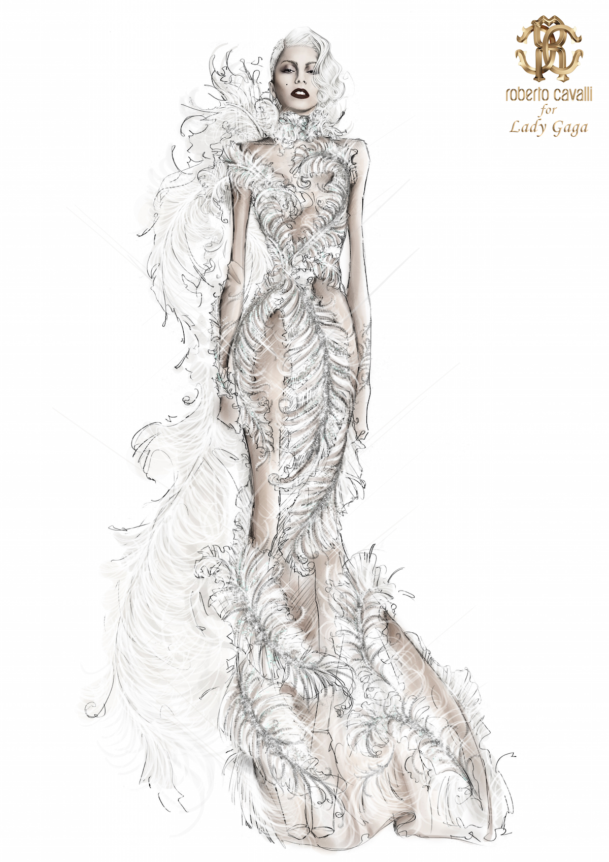 Roberto Cavalli Atelier Sketch for Lady Gaga @ Cheek to Cheek Tour