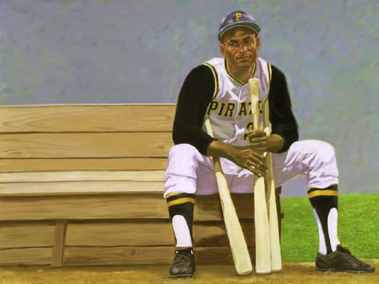 Clemente-on-bench