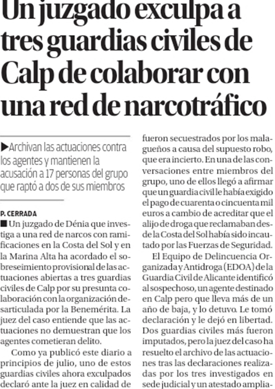 A court exonerates three Calp civil guards from collaborating with a drug trafficking network