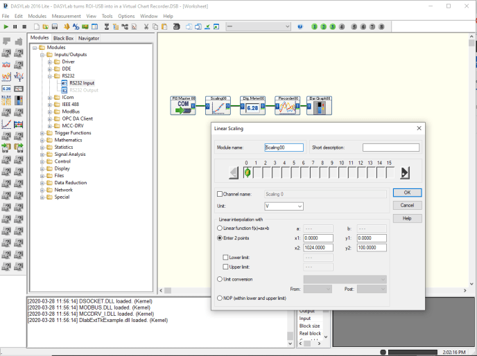 DASYlab & ROI-USB become a Virtual Chart Recorder using because of the DASYLab serial input module and chart recorder module. Custom applications without programming.