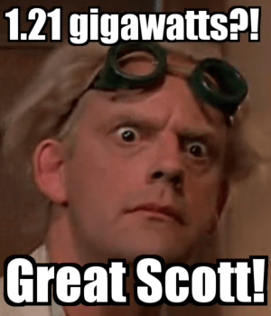 September 8 – 1.21 Gigawatts. A Bolt of Lightning