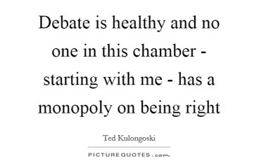 April 9 – Healthy Debate Is Healthy