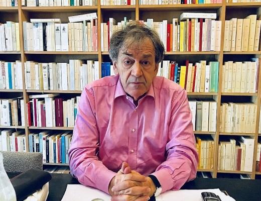 Alain Finkielkraut in his Paris home (Robert Sarner/Times of Israel)