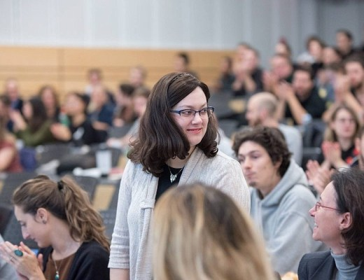 Mindy Pollak at a university where then-Montreal mayoral candidate Valerie Plante was speaking, autumn of 2017.