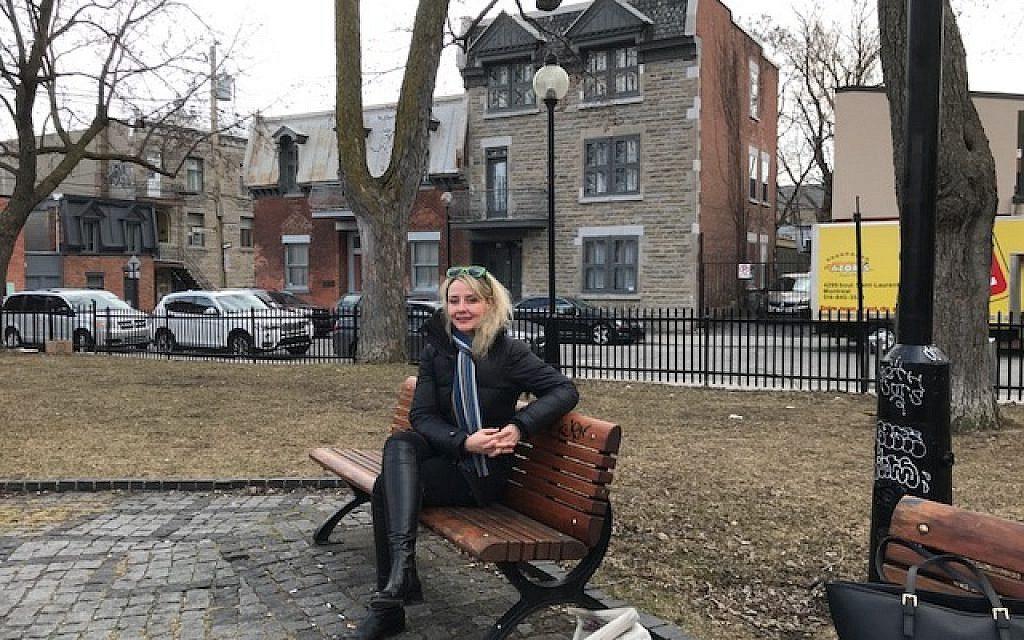 Chantal Ringuet at the park across from Leonard Cohen's home, 2018. (Robert Sarner/ Times of Israel)