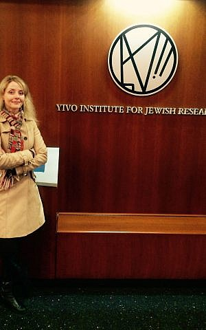 Chantal Ringuet at the YIVO institute in New York City as a fellow in 2016. (Courtesy)
