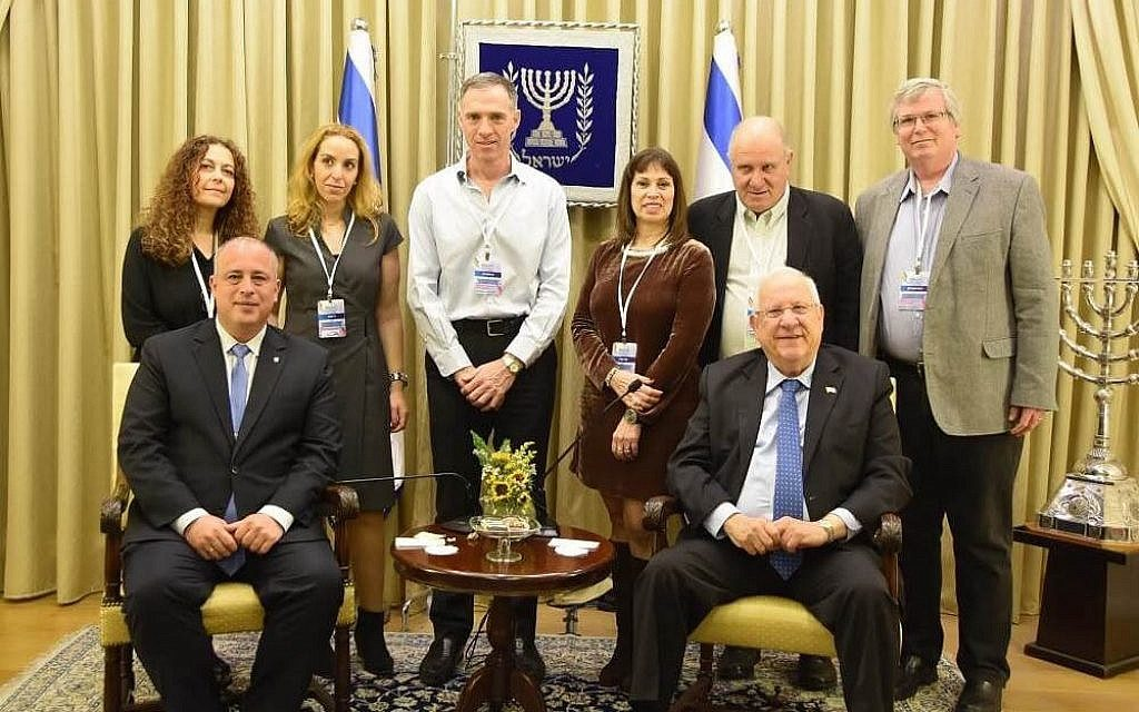 GIL conference organizers with President Rivlin and Deputy Speaker of the Knesset MK Yehiel Bar in 2017, at the Presidential Residence in Jerusalem. (Courtesy)