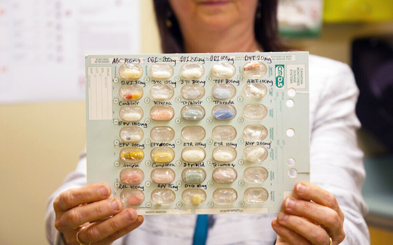 Dr. Neora Pick holds a selection of antiretroviral medications for HIV positive patients at the Oak Tree Clinic in Vancouver, BC, Canada. (Etye Sarner)