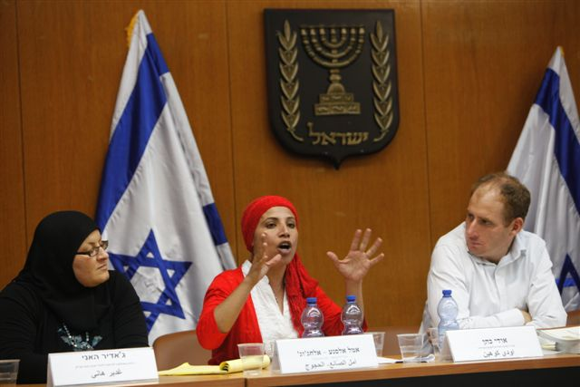 Amal Elsana-Alh'jooj presents an economic development plan for Bedouin women at the Israeli Knesset Economic Affairs Committee, June 2011.