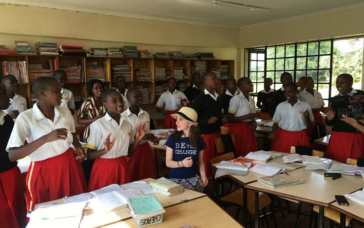 Hannah Alper with the 10th grade class at an all-girls secondary school in Kenya during a service trip with the organization Me to We, June 2016.