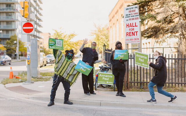Annamie Paul, second from left, with supporters of her campaign for Canadian Green Party leader in Toronto, 2020. (Rebecca Wood)