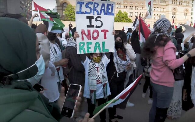 A boy holds a placard that reads 'Israel is not real' at a pro-Palestinian rally held during Israel's Operation Guardian of the Walls, in Nathan Phillips Square, downtown Toronto, May 15, 2021. (Screenshot YouTube)